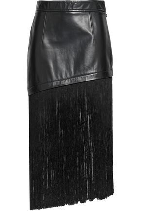HELMUT LANG Fringe-trimmed leather midi skirt