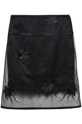 HELMUT LANG Embroidered tulle skirt