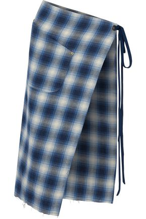 R13 Checked cotton-twill apron