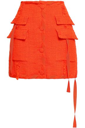 MSGM Frayed cotton-blend boulcé-tweed mini skirt