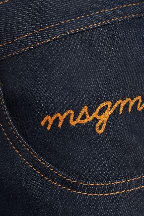 MSGM Embroidered denim mini skirt