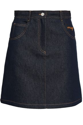 MSGM Embroidered denim mini skirt
