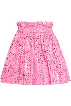 MSGM Laser-cut coated cotton mini skirt