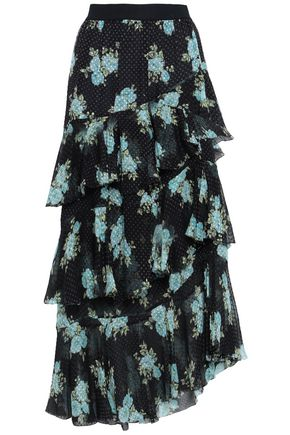 ZIMMERMANN Tiered floral-print silk-blend jacquard midi skirt