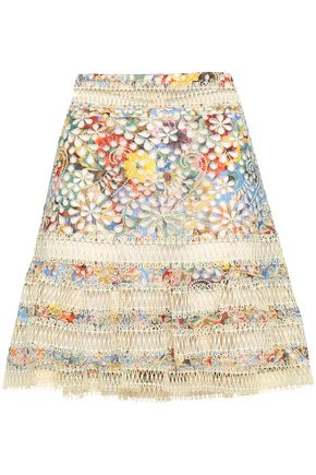 ZIMMERMANN Floral-print broderie anglaise cotton mini skirt