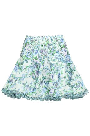 ZIMMERMANN Whitewave button-embellished floral-print linen and silk-blend mini skirt