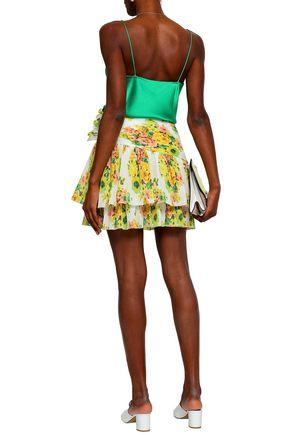 ZIMMERMANN Wrap-effect plissé-woven mini skirt