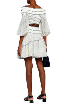 ZIMMERMANN Painted Heart embroidered cotton and silk-blend mini skirt