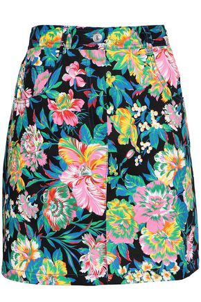 MSGM Floral-print twill mini skirt