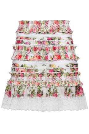 ZIMMERMANN Lace-trimmed linen and silk-blend mini skirt