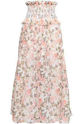 38fd02dd933c7 ZIMMERMANN Shirred floral-print linen and silk-blend midi skirt