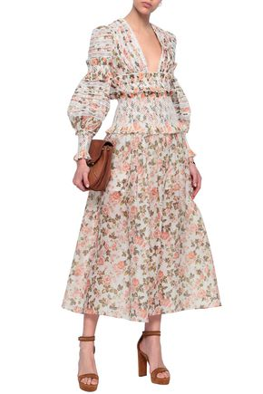 ZIMMERMANN Shirred floral-print linen and silk-blend midi skirt