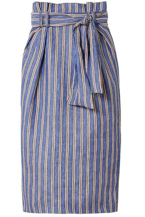 GABRIELA HEARST Striped linen midi pencil skirt