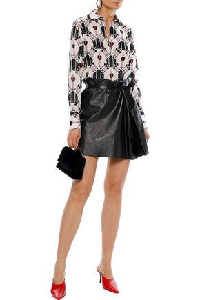 REDValentino Grosgrain-trimmed gathered leather mini skirt