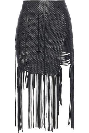 MAGDA BUTRYM Fringed woven leather mini skirt