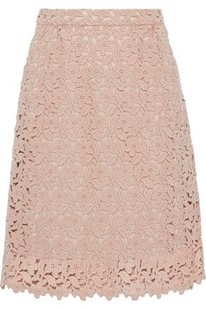 DOLCE & GABBANA Wool and cotton-blend guipure lace skirt
