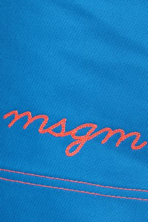 MSGM Embroidered cotton-gabardine mini skirt