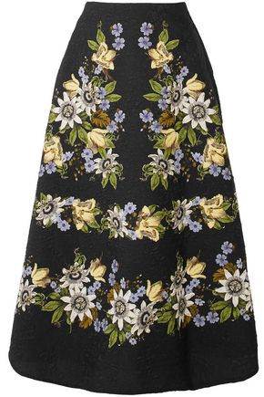 ERDEM Floral-print matelassé midi skirt