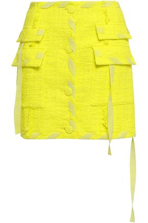 MSGM Frayed cotton-blend gauze mini skirt