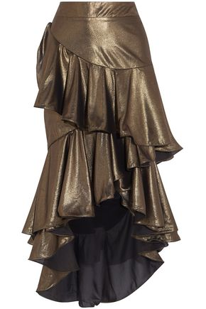 JOHANNA ORTIZ Asymmetric tiered lamé skirt