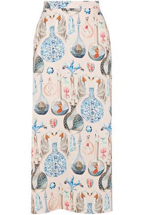 TEMPERLEY LONDON Printed crepe midi skirt