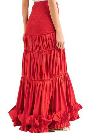 JOHANNA ORTIZ Fleur De Geisha ruched stretch-cotton poplin maxi skirt