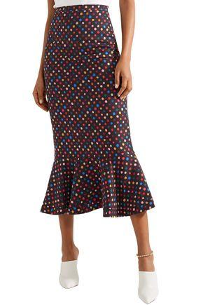 SALONI Polka-dot woven midi skirt