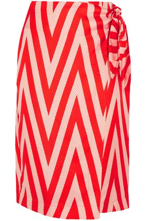 DIANE VON FURSTENBERG Wrap-effect printed silk-twill skirt