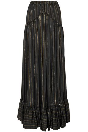 PHILOSOPHY di LORENZO SERAFINI Metallic striped silk-blend jacquard maxi skirt