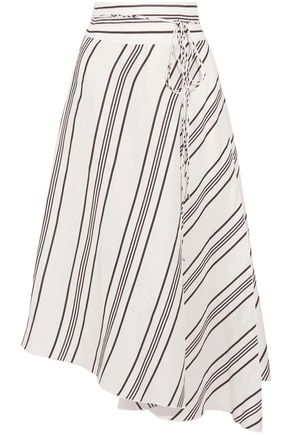 APIECE APART Wrap-effect striped linen and silk-blend midi skirt