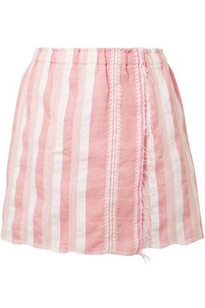 LEMLEM Lulu wrap-effect striped cotton-blend gauze mini skirt