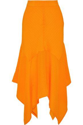 GANNI Asymmetric striped silk and cotton-blend seersucker skirt