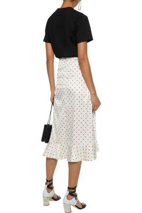 GANNI Dufort polka-dot silk-blend charmeuse skirt