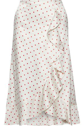 GANNI Dufort polka-dot silk-blend charmeuse skirt
