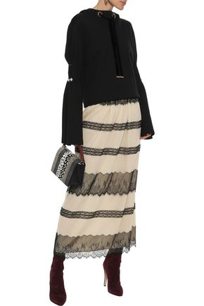 REDValentino Paneled Chantilly lace and point d'esprit maxi skirt