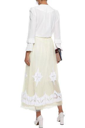 REDValentino Embellished poplin-appliquéd point d'esprit maxi skirt