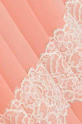 REDValentino Lace-appliquéd pleated chiffon skirt