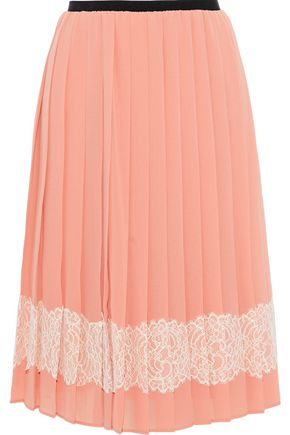 REDValentino Lace-appliquéd pleated chiffon skirt