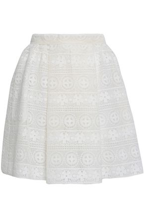 REDValentino Pleated lace mini skirt