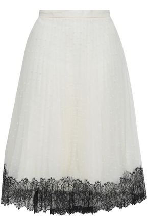 REDValentino Lace-trimmed point d'esprit skirt
