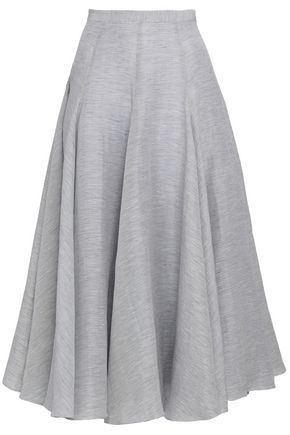 CO Striped linen and silk-blend midi skirt