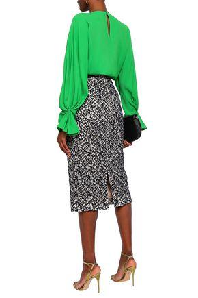 EMILIA WICKSTEAD Linda flocked lace midi pencil skirt