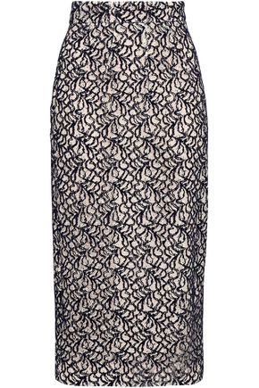 EMILIA WICKSTEAD Linda flocked lace midi pencil skirt