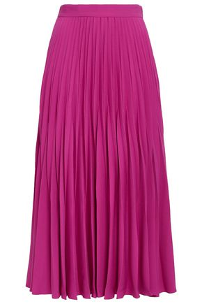 CO Pleated satin-crepe midi skirt