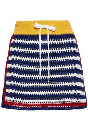 REDValentino Striped crochet-knit cotton-blend mini skirt