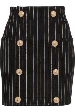 c733eded541 BALMAIN Button-embellished metallic pinstriped denim mini skirt