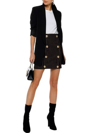 BALMAIN Button-embellished metallic pinstriped denim mini skirt