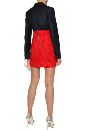 BALMAIN Button-embellished bouclé-tweed mini skirt