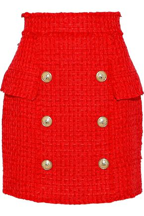 BALMAIN Button-embellished bouclé-tweed mini skirt