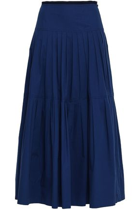 REDValentino Pleated stretch-cotton maxi skirt